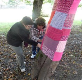Pink knitwear in local community
